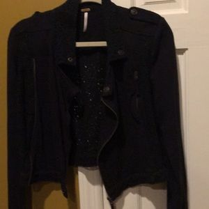 Free People Jackets & Coats - Free people motto jacket black and black lace